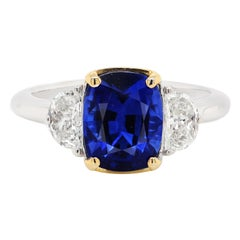 4.05 Carat Blue Sapphire Diamond Three-Stone Ring