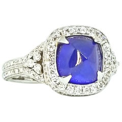 4.05 Carat Blue Sugarloaf Cushion Sapphire Diamond Deco Style Ring White Gold