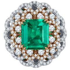 4.05 Carat Colombian Emerald GIA, 1.27 Carat Diamonds, Cocktail Ring