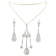 4.05 carat Diamond Dangle Pendant Necklace & Earrings 14k Gold Jewelry Set