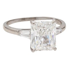 4.05 Carat E VS2 Radiant Cut Diamond Ring, GIA Certified