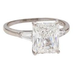 4.05 Carat E VS2 Radiant Cut Diamond Ring, GIA Certified