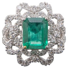 4.05 Carat Emerald and Diamond Cocktail Ring