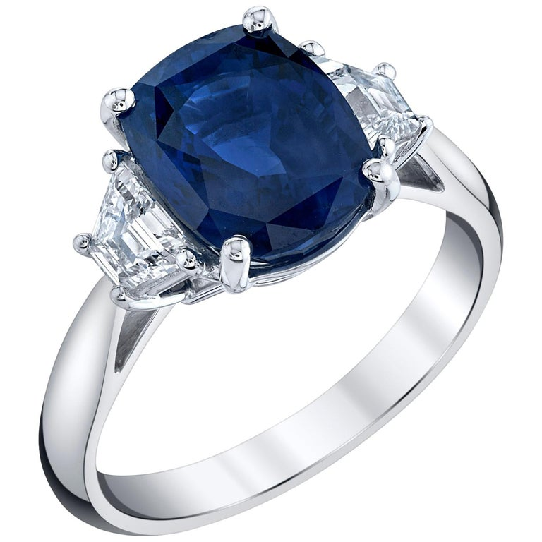 4.05 ct. Unheated Blue Sapphire GIA, Diamond, Platinum 3-Stone Engagement Ring  For Sale