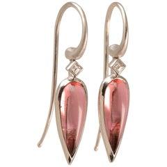 4.05 Carat Pink Tourmaline and Diamond Drop Earrings in 18 Karat White Gold