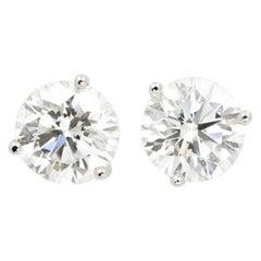 4.05 Carat Round Brilliant Cut Diamond Stud Earrings