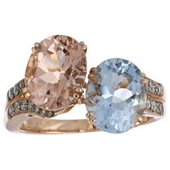 4.05 Carat Total Morganite Aquamarine with Diamonds in 14 Karat Rose Gold