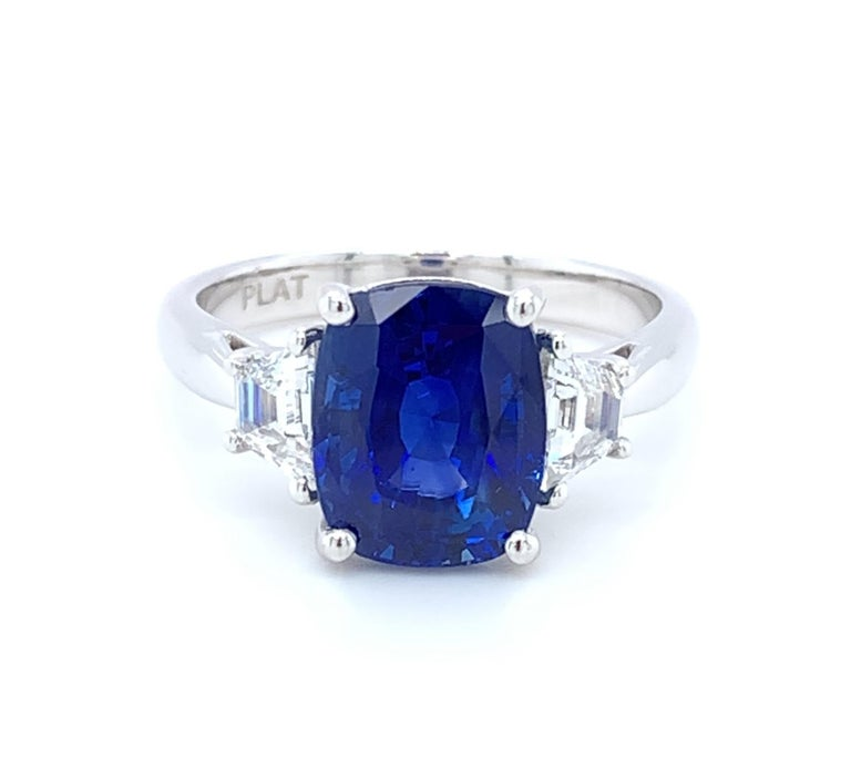 Cushion Cut 4.05 ct. Unheated Blue Sapphire GIA, Diamond, Platinum 3-Stone Engagement Ring  For Sale