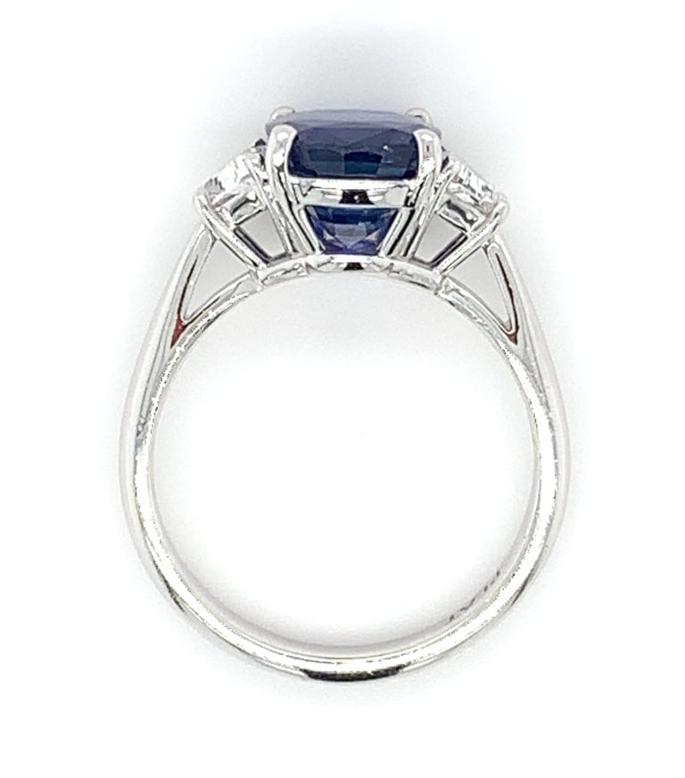 4.05 ct. Unheated Blue Sapphire GIA, Diamond, Platinum 3-Stone Engagement Ring  For Sale 2