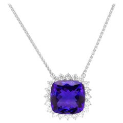 40.56 Carat Cushion Cut Tanzanite Diamond Halo Pendant Necklace 18 Karat Gold