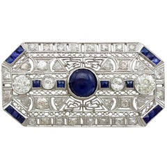 4.05 Carat Diamond and 4.20 Carat Sapphire, Platinum Brooch, Art Deco Style