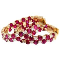 4.05 Carat Natural Ruby Diamonds Hoop Earrings 14 Karat