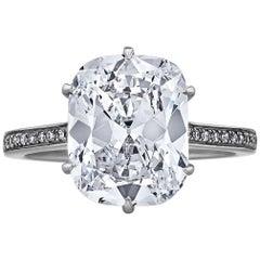 4.06 Carat Cushion Brilliant Cut Platinum Diamond Engagement Ring