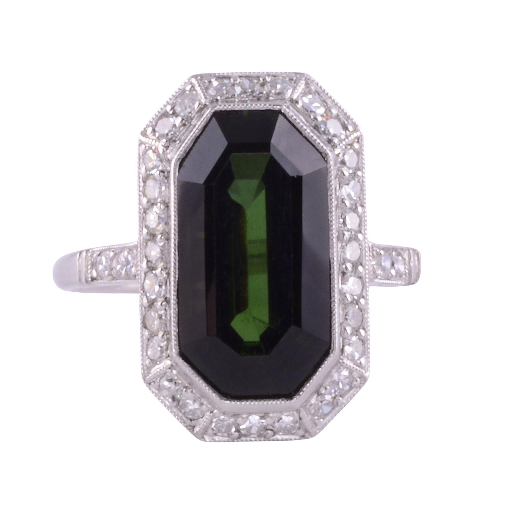 4.06 Carat Green Tourmaline Platinum Ring