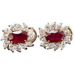4.06 Carat Oval Ruby and Diamond Earring Studs