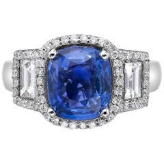 4.06 Carat Royal Blue Sapphire GRS Certified Non Heated Diamond Ring Cushion Cut