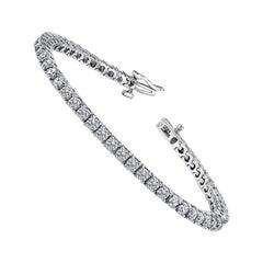 4.06 Carat Total Round Diamond 4 Prong Tennis Bracelet in 14 Karat White Gold