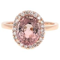 4.06 Carat Tourmaline Diamond 14 Karat Rose Gold Ring
