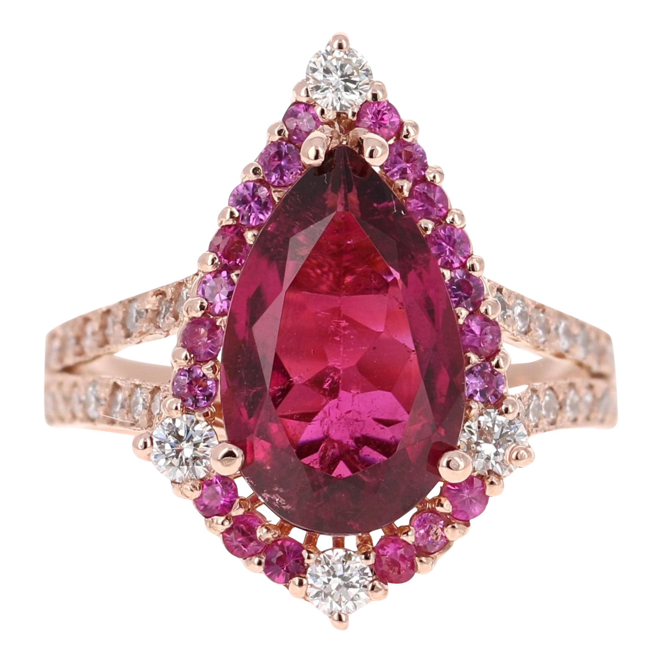 4.06 Carat Tourmaline Pink Sapphire Diamond 14 Karat Rose Gold Ring