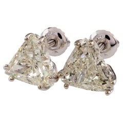 4.06 Carat Trillion Cut Diamond Stud Earrings Set in White Gold Gorgeous