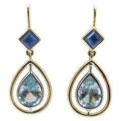 Aquamarine Pear and Sapphire Cabochon, White Gold Bezel Set Wire Dangle Earrings