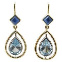 4.07 Carat Aquamarine and Sapphire 18 Karat Yellow Gold Earrings