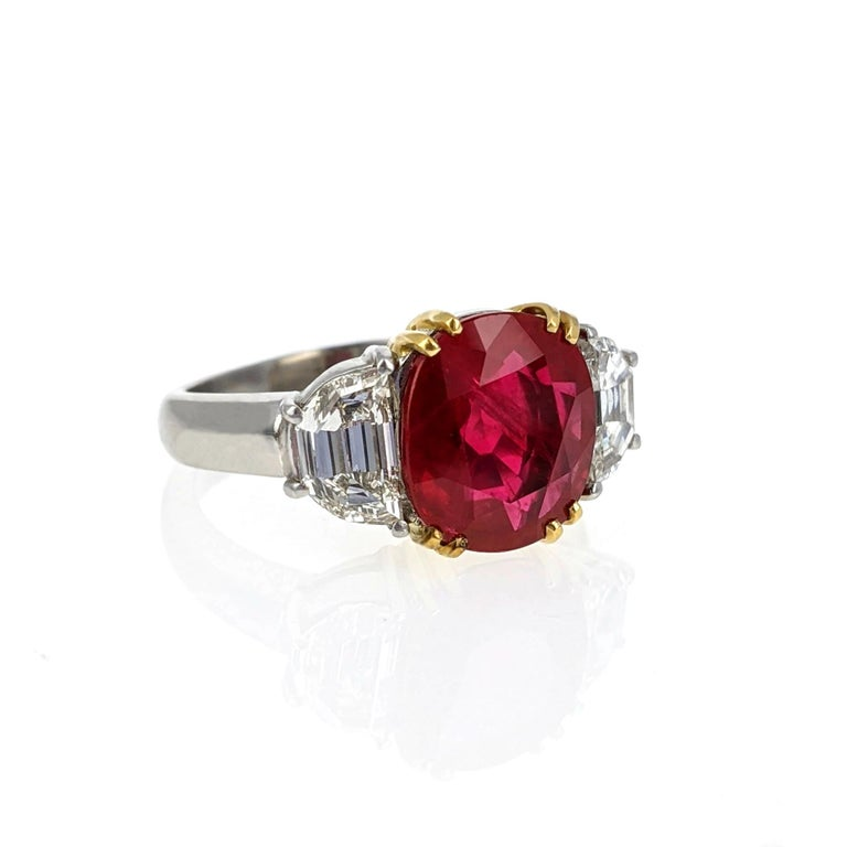 Oval Cut 4.07 Carat Burma Ruby Diamond Platinum and Gold Ring