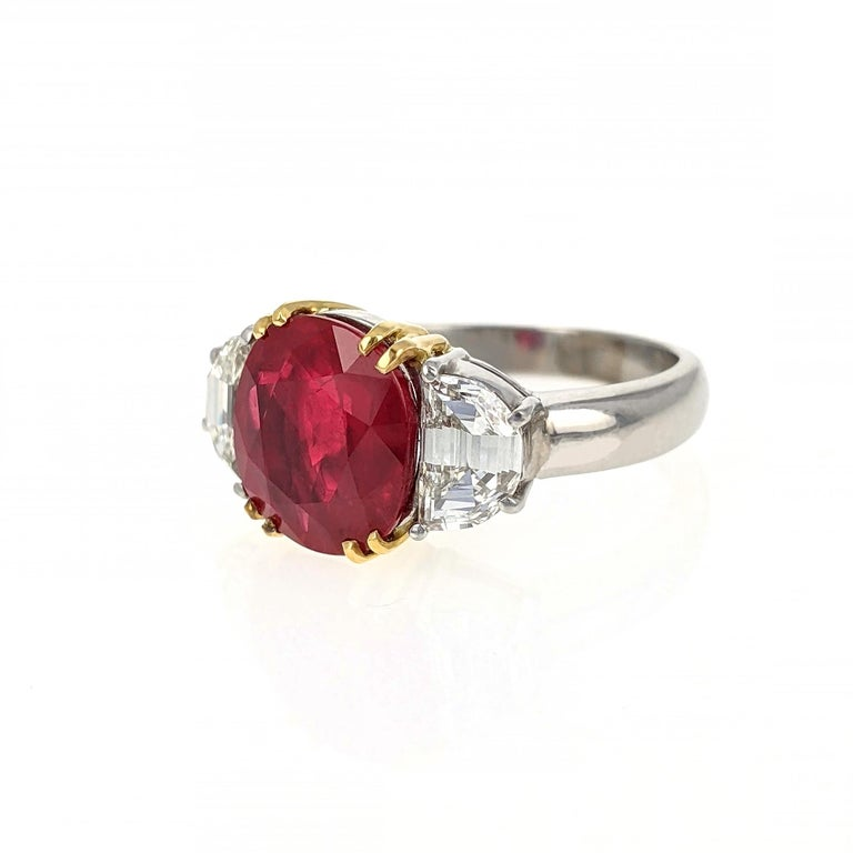 4.07 Carat Burma Ruby Diamond Platinum and Gold Ring In Good Condition In New York, NY