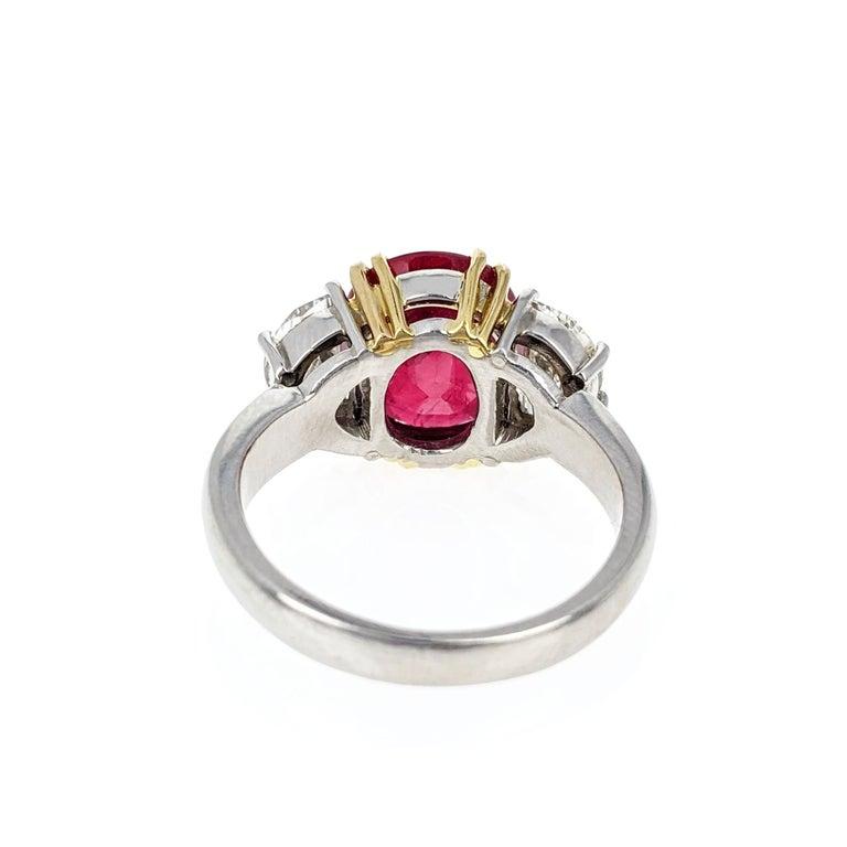 Women's or Men's 4.07 Carat Burma Ruby Diamond Platinum and Gold Ring
