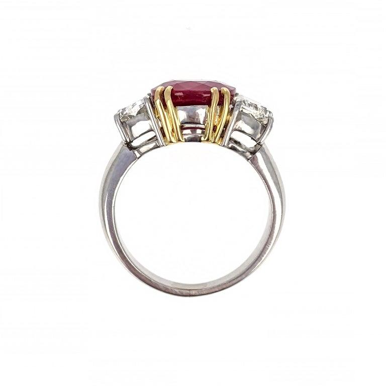 4.07 Carat Burma Ruby Diamond Platinum and Gold Ring 1