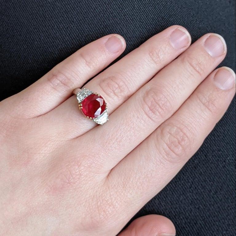 4.07 Carat Burma Ruby Diamond Platinum and Gold Ring 2