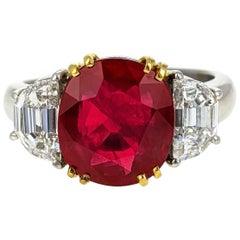 4.07 Carat Burma Ruby Diamond Platinum and Gold Ring