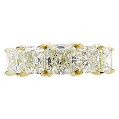 4.07 Carat Estate Vintage Radiant Diamond 5stone Wedding Yellow Gold Ring