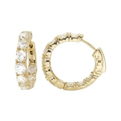 4.07 Carat Huggie Diamond Hoops Earrings 14 Karat Yellow Gold