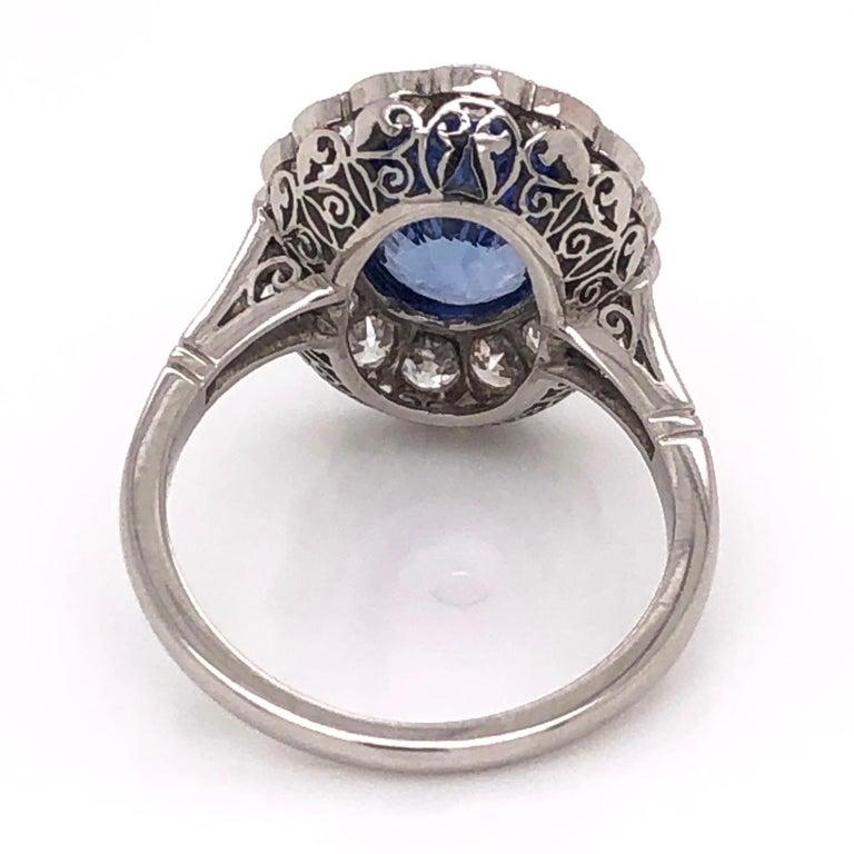 Art Deco 4.07 Carat No Heat Sapphire and Diamond Platinum Ring Estate Fine Jewelry For Sale