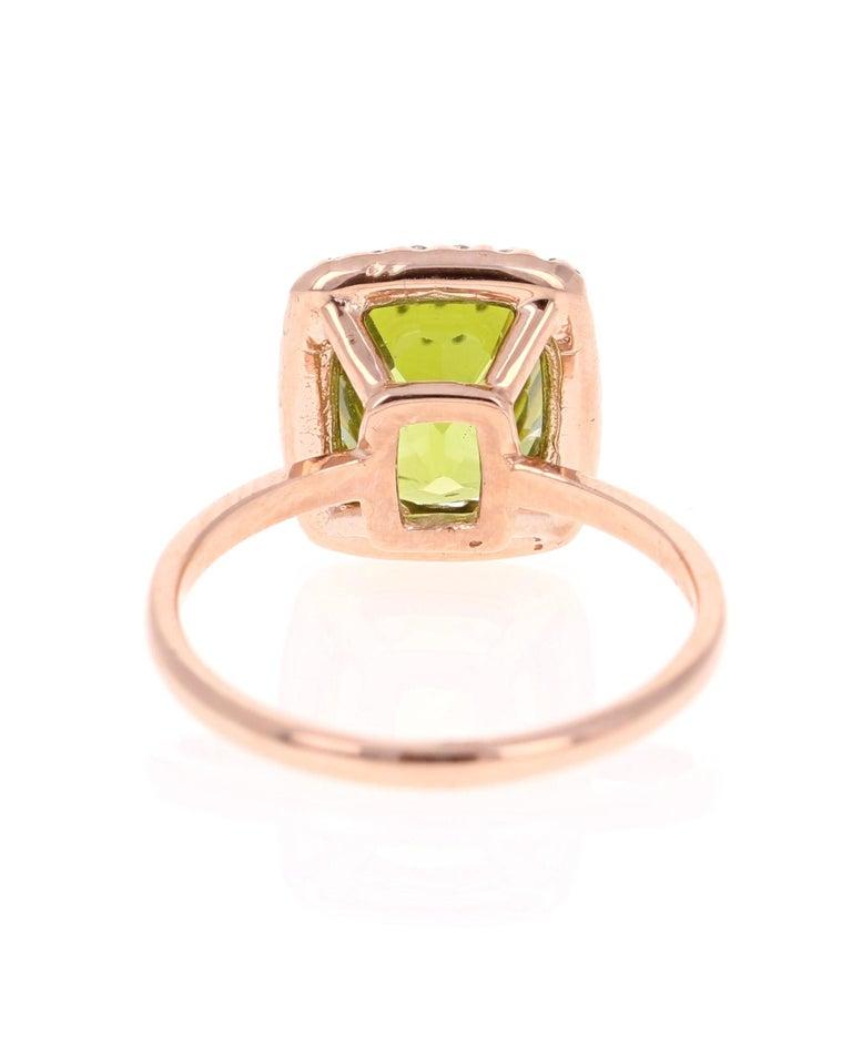 Cushion Cut 4.07 Carat Peridot Diamond 14 Karat Rose Gold Ring For Sale