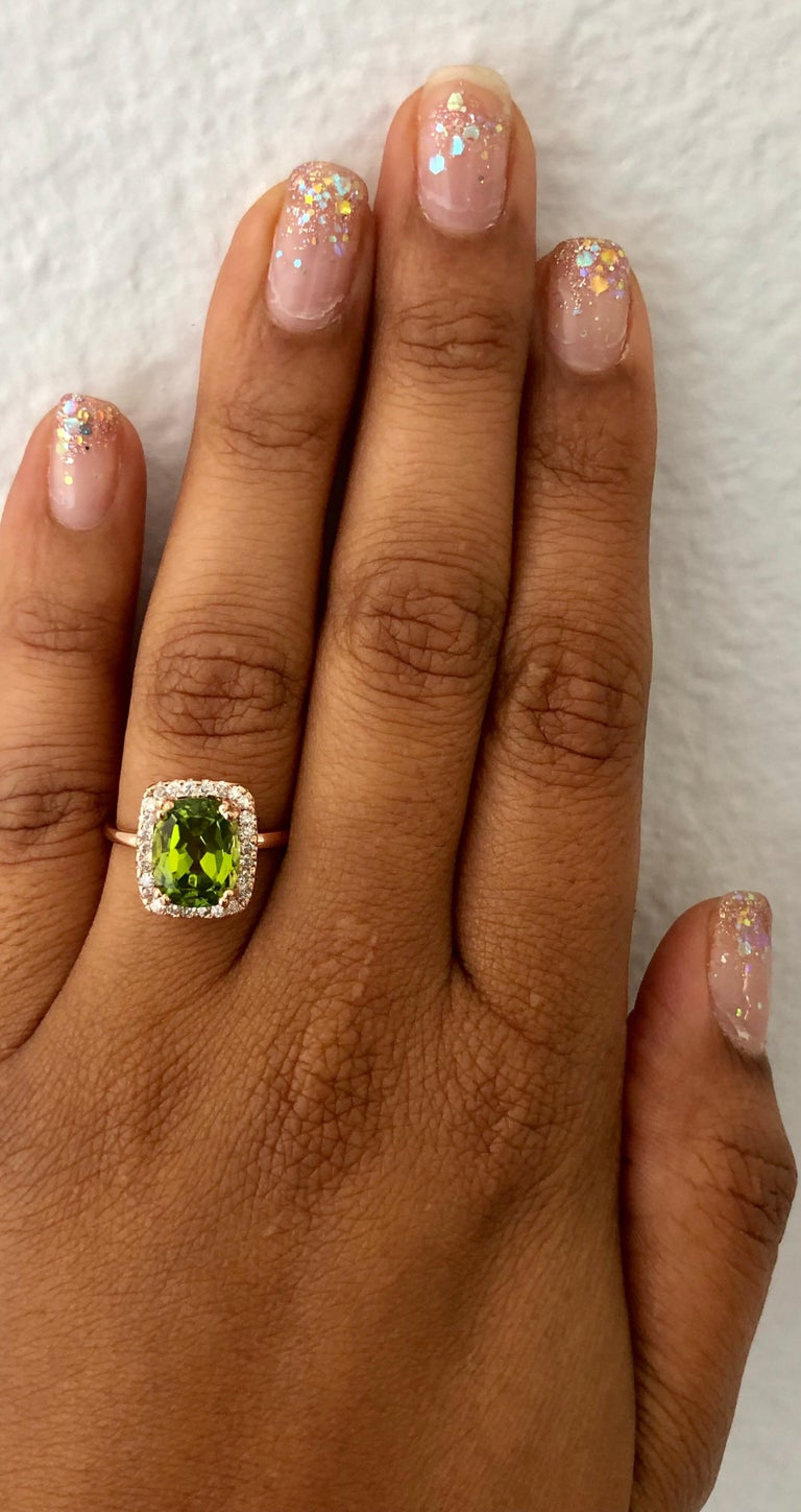 4.07 Carat Peridot Diamond 14 Karat Rose Gold Ring In New Condition For Sale In Los Angeles, CA