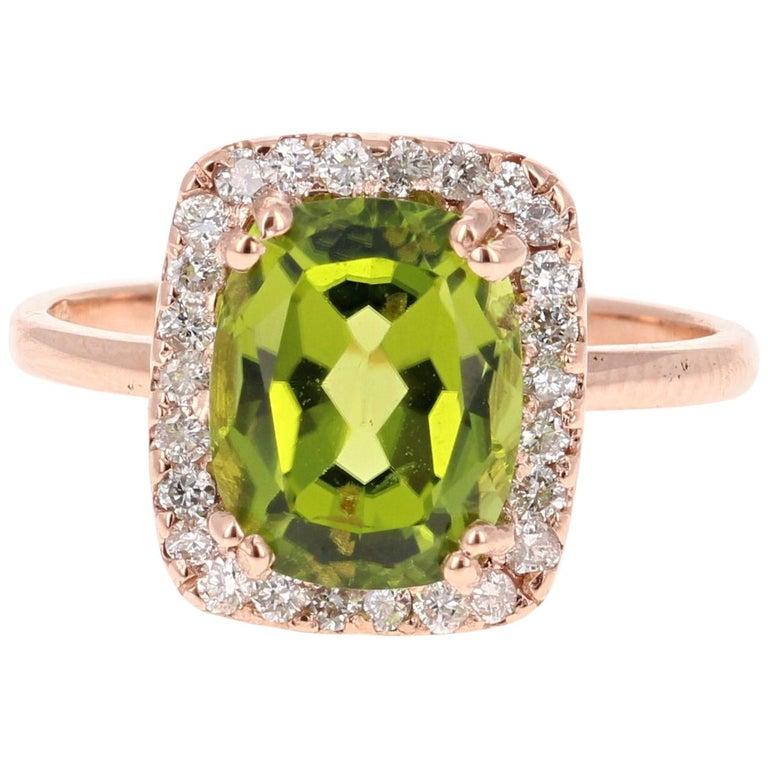 4.07 Carat Peridot Diamond 14 Karat Rose Gold Ring For Sale