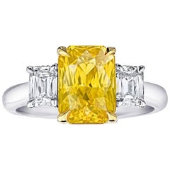 4.07 Carat Radiant Cut Yellow Sapphire and Diamond Platinum and 18k Ring