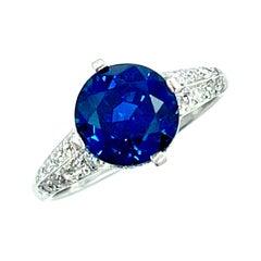 4.07 Carat Round Sapphire and Diamond Platinum Engagement Ring