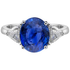4.07 Carat Royal Blue Sapphire GRS Certified Non Heated Diamond Ring Oval Cut