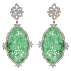 40.76 Carat Green Jade Diamond 18 Karat Yellow Gold Earrings