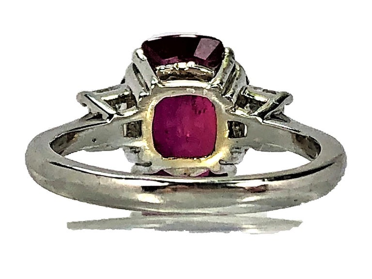 4.07 Carat Mozambique Ruby and Diamond Three-Stone Ring Set in Platinum For Sale 2