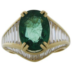 4.08 Carat Emerald Oval Diamond Ring in 18 Karat Yellow Gold