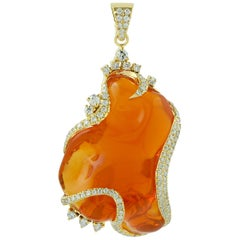 40.8 Carat Fire Opal Diamond 18 Karat Gold Pendant Necklace