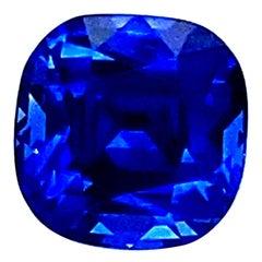"4.08 Carat GRS Certified Cushion Cut ""Vibrant"" Royal Blue Sapphire"