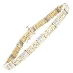 4.08 Carat Princess Cut Diamond Bracelet, 14 Karat Yellow Gold Link
