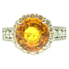 4.08 Carat Yellow Sapphire and Diamond Cocktail Ring