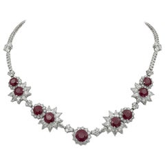40.89 Carat Round Ruby and Diamond Halo Necklace