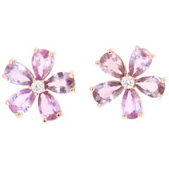 4.09 Carat Pink Purple Sapphire Diamond 18 Karat Rose Gold Earrings